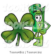 Illustration of a Cartoon Rolled Money Mascot with a Green Four Leaf Clover on St Paddy's or St Patricks Day by Toons4Biz