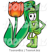 Illustration of a Cartoon Rolled Money Mascot with a Red Tulip Flower in the Spring by Toons4Biz