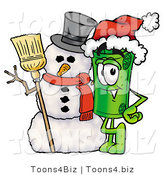 Illustration of a Cartoon Rolled Money Mascot with a Snowman on Christmas by Toons4Biz