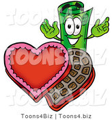 Illustration of a Cartoon Rolled Money Mascot with an Open Box of Valentines Day Chocolate Candies by Toons4Biz