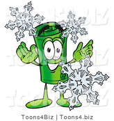Illustration of a Cartoon Rolled Money Mascot with Three Snowflakes in Winter by Toons4Biz