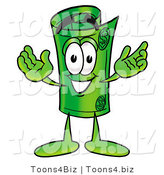 Illustration of a Cartoon Rolled Money Mascot with Welcoming Open Arms by Toons4Biz