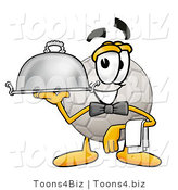 Illustration of a Cartoon Soccer Ball Mascot Dressed As a Waiter and Holding a Serving Platter by Toons4Biz