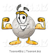 Illustration of a Cartoon Soccer Ball Mascot Flexing His Arm Muscles by Toons4Biz