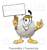 Illustration of a Cartoon Soccer Ball Mascot Holding a Blank Sign by Toons4Biz