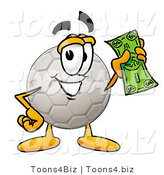 Illustration of a Cartoon Soccer Ball Mascot Holding a Dollar Bill by Toons4Biz