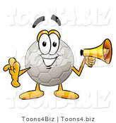 Illustration of a Cartoon Soccer Ball Mascot Holding a Megaphone by Toons4Biz