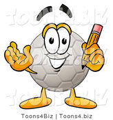Illustration of a Cartoon Soccer Ball Mascot Holding a Pencil by Toons4Biz