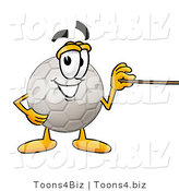 Illustration of a Cartoon Soccer Ball Mascot Holding a Pointer Stick by Toons4Biz