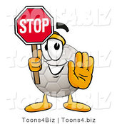 Illustration of a Cartoon Soccer Ball Mascot Holding a Stop Sign by Toons4Biz