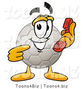 Illustration of a Cartoon Soccer Ball Mascot Holding a Telephone by Toons4Biz