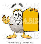 Illustration of a Cartoon Soccer Ball Mascot Holding a Yellow Sales Price Tag by Toons4Biz