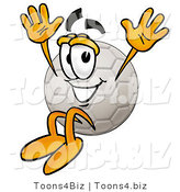 Illustration of a Cartoon Soccer Ball Mascot Jumping by Toons4Biz