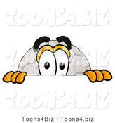 Illustration of a Cartoon Soccer Ball Mascot Peeking over a Surface by Toons4Biz
