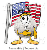 Illustration of a Cartoon Soccer Ball Mascot Pledging Allegiance to an American Flag by Toons4Biz