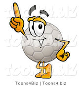 Illustration of a Cartoon Soccer Ball Mascot Pointing Upwards by Toons4Biz