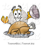 Illustration of a Cartoon Soccer Ball Mascot Serving a Thanksgiving Turkey on a Platter by Toons4Biz