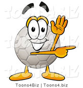 Illustration of a Cartoon Soccer Ball Mascot Waving and Pointing by Toons4Biz