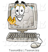 Illustration of a Cartoon Soccer Ball Mascot Waving from Inside a Computer Screen by Toons4Biz