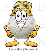 Illustration of a Cartoon Soccer Ball Mascot Wearing a Helmet by Toons4Biz
