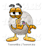 Illustration of a Cartoon Soccer Ball Mascot Whispering and Gossiping by Toons4Biz