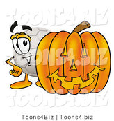 Illustration of a Cartoon Soccer Ball Mascot with a Carved Halloween Pumpkin by Toons4Biz