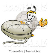 Illustration of a Cartoon Soccer Ball Mascot with a Computer Mouse by Toons4Biz