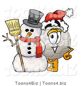 Illustration of a Cartoon Soccer Ball Mascot with a Snowman on Christmas by Toons4Biz