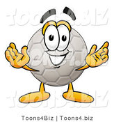Illustration of a Cartoon Soccer Ball Mascot with Welcoming Open Arms by Toons4Biz