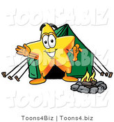 Illustration of a Cartoon Star Mascot Camping with a Tent and Fire by Toons4Biz