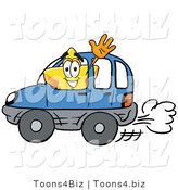 Illustration of a Cartoon Star Mascot Driving a Blue Car and Waving by Toons4Biz