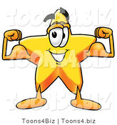 Illustration of a Cartoon Star Mascot Flexing His Arm Muscles by Toons4Biz
