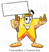 Illustration of a Cartoon Star Mascot Holding a Blank Sign by Toons4Biz