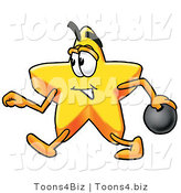 Illustration of a Cartoon Star Mascot Holding a Bowling Ball by Toons4Biz
