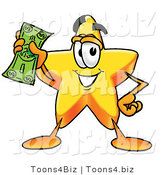Illustration of a Cartoon Star Mascot Holding a Dollar Bill by Toons4Biz