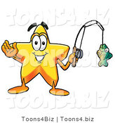 Illustration of a Cartoon Star Mascot Holding a Fish on a Fishing Pole by Toons4Biz