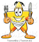 Illustration of a Cartoon Star Mascot Holding a Knife and Fork by Toons4Biz