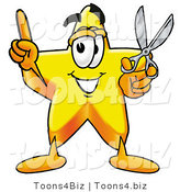Illustration of a Cartoon Star Mascot Holding a Pair of Scissors by Toons4Biz