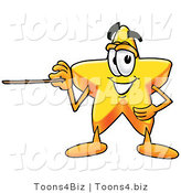 Illustration of a Cartoon Star Mascot Holding a Pointer Stick by Toons4Biz