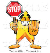 Illustration of a Cartoon Star Mascot Holding a Stop Sign by Toons4Biz