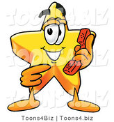 Illustration of a Cartoon Star Mascot Holding a Telephone by Toons4Biz