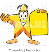 Illustration of a Cartoon Star Mascot Holding a Yellow Sales Price Tag by Toons4Biz