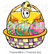 Illustration of a Cartoon Star Mascot in an Easter Basket Full of Decorated Easter Eggs by Toons4Biz