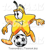 Illustration of a Cartoon Star Mascot Kicking a Soccer Ball by Toons4Biz