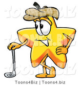 Illustration of a Cartoon Star Mascot Leaning on a Golf Club While Golfing by Toons4Biz