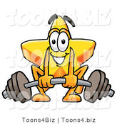 Illustration of a Cartoon Star Mascot Lifting a Heavy Barbell by Toons4Biz