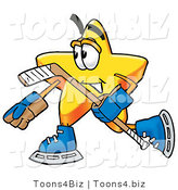 Illustration of a Cartoon Star Mascot Playing Ice Hockey by Toons4Biz