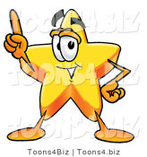 Illustration of a Cartoon Star Mascot Pointing Upwards by Toons4Biz