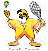 Illustration of a Cartoon Star Mascot Preparing to Hit a Tennis Ball by Toons4Biz