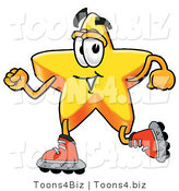 Illustration of a Cartoon Star Mascot Roller Blading on Inline Skates by Toons4Biz
